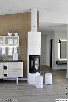 takka,takkahuone,moderni,keittiö,valkoinen Chiminea, Fireplace Mantels, Fireplaces, Herd, Decoration, Home Furnishings, Villa, Cottage, Living Room