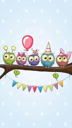 Cute Owls Wallpaper, Flower Phone Wallpaper, Bear Wallpaper, Owl Clip Art, Owl Art, Shadow Painting, Fabric Painting, Cute Animal Drawings, Cute Drawings