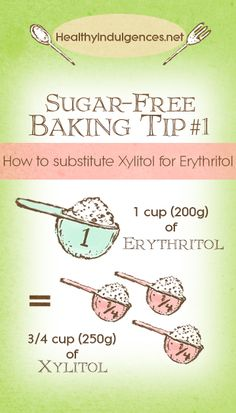 Helpful Sugar-free Baking Tip: 3/4 cup Xylitol = 1 cup Erythritol