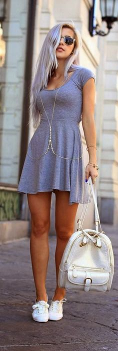Grey Jersey Dress With Sneakers And Shades