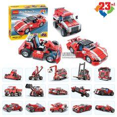 DECOOL City 23 in 1 Creator Super Speedster Red Car Building Blocks Bricks Model Kids Toys Marvel Compatible Legoe