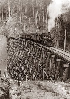 Old Picture of the Day: Locomotive on Trestle: Have you ever walked a trestle?  I remember the days I did.