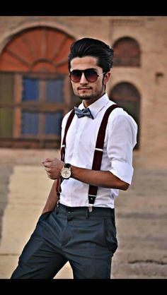 Bow tie,fashion, glasses, slacks,GQ,suspenders
