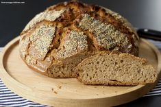 grießbrot mit vollkornmehl / semolina bread with whole meal flour Bread Baking, Bakery, Ice Cream, Dinner, Baguette, Desserts, Recipes, Pizza, Food