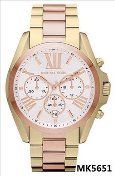 c44a26483ee96 Michael Kors Mid-Size Gold and Rose Gold Tone Stainless Steel Bradshaw  Chronograph Watch Michael