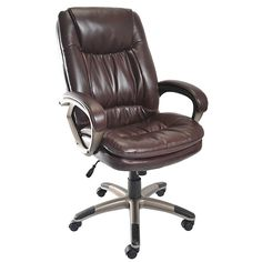 Staples Eckert Bonded Leather Mid Back Chair Brown
