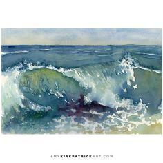 No Wave, Ocean Wave Painting, Watercolor Ocean, Seascape Paintings, Watercolor Paintings, Watercolours, Fine Art Amerika, Art Plage, Shore Break