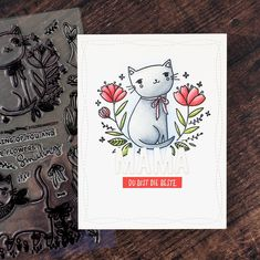 Wer es noch nicht wei Smiling Cat, Cat Cards, Animal Cards, Card Tags, Flower Cards, Birthday Cards, Waffle, Card Making, Paper Crafts