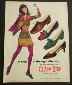 Vintage 1968 Illustrated Girl in Charm Step Shoes