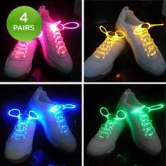 LED Light Up Waterproof Shoelaces Fun For Kids Ages 6+ - Pink/Yellow/Blue/Green - blue Sold!