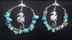wired crochet earrings seahorse with chip turquoise by BentOnMaui