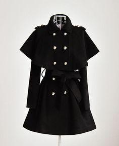 women's 50% wool Double-breasted Two style cloak jacket black wool trench coat