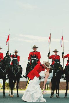 Mountie's Musical Ride Wedding Photo Wows With Canadian Charm. Jack and his fellow Mounties Canadian Things, Jack And Elizabeth, Naval, Canada Eh, Wedding Photos, Wedding Ideas, Homeland, Color Inspiration, Hockey