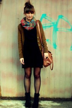 Little black dresses always. And cardigans. And scarves. And boots. <3 @ladygoodbread