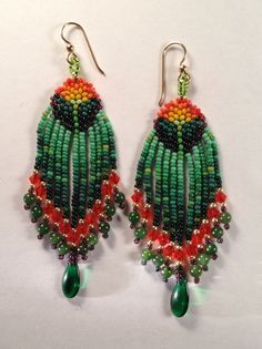 California Poppy Beaded Earrings by SouthWillow on Etsy.