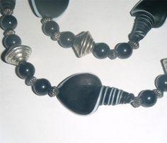 "Unusual matte black glass shell & dark silver bicone bead necklace 24"" long (61cm)"