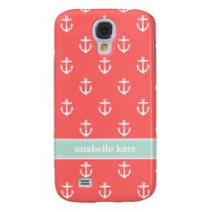 Coral and Mint Cute Anchors Custom Monogram Samsung Galaxy S4 Case from www.sweetzoeshop.com