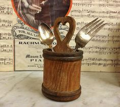 AnTIQUE PrIMITIVE WooD SPOON utENSIL CaRRIER TOTE, Antique Wood TREENWARE, Home Decor HeRB Planter VaSE TrAY https://www.etsy.com/listing/483688202 $125.00.