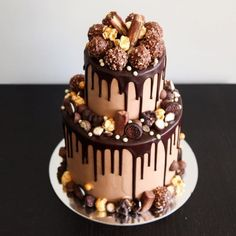 """Jen, Bake down cakery. """"Up-close and personal to this Ferrero, salted caramel small two-tier cake! Hope everyone has had a great weekend! Onto the new week! Food Cakes, Cupcake Cakes, Mini Cakes, Cake Cookies, Rocher Torte, Drippy Cakes, 18th Cake, Two Tier Cake, 60th Birthday Cakes"""