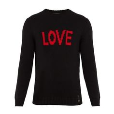 Fendi Love-jacquard wool sweater ($650) ❤ liked on Polyvore featuring men's fashion, men's clothing, men's sweaters, black, mens crewneck sweaters, mens wool sweaters, mens slim fit sweaters, men's wool crew neck sweaters and mens crew neck sweaters