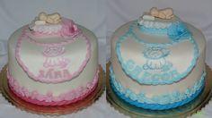 christening cake for twins - krstinové tortičky pre dvojčatá