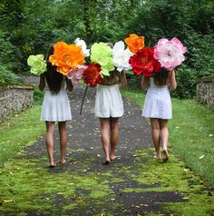 Oversized giant paper flowers with wired stems and petals resemble Peonies for use as stage & theater props, in photo shoots, trade show exhibits, parade floats and as party and prom decor, and retail window display.