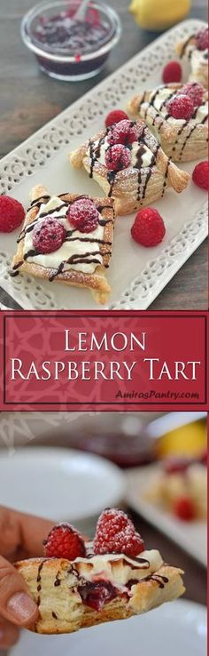 Buttery, flaky and creamy raspberry pastry, that is ridiculously easy and totally irresistible. A delicious, everyday dessert tart/danish recipe. Lemon cream puffs filled with raspberry preserve and topped with fresh raspberries.