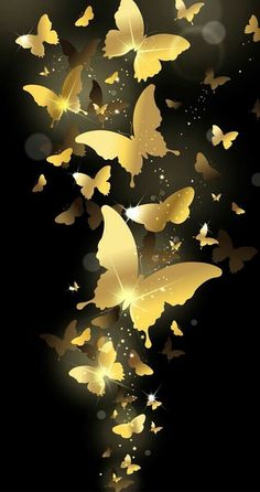 Black Background Wallpaper, Butterfly Background, Cool Wallpaper, Mobile Wallpaper, Pattern Wallpaper, Wallpaper Backgrounds, Flower Phone Wallpaper, Butterfly Wallpaper, Gold Aesthetic