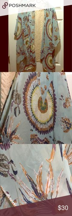 Umgee feather print kimono Gorgeous print kimono. It's light blue with a feather print! Perfect or spring or fall alike. Worn once. Umgee Other