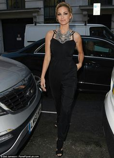 Party time: Sarah Harding was chic in a black jumpsuit as she arrived at Very's Can't Wait For Summer pool party at the Haymarket Hotel in London on Wednesday.