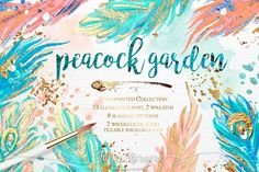 Love these colors... Peacock Garden by Karamfila on @creativemarket $18,00