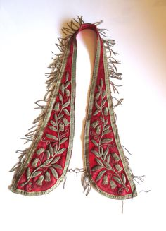 Antique Odd Fellows Regalia Red Velvet Silk and Metallic Threaded Collar 1800s Gold Metallic Fringe Jackpot Jen Vintage by JackpotJen on Etsy