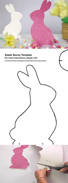 DIY Easter bunny decorations - video tutorial & free printable template from Room to Grow: http://www.howtovideos.roomtogrow.tv/craft/easter-bunny-decorations/