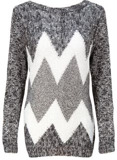 Black & White Mix Silver Zig Zag Knitted Jumper  http://www.pussycatlondon.com/latest-fashion-clothing-1/black-white-mix-silver-zig-zag-knitted-jumper.html?color=Black&size=S-M