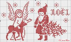 Free Casa mia Santa and tree or angel and deer cross stitch pattern