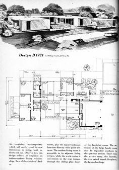Mid Century Modern House Building Plans Home Planners Design Modern House Floor Plans, Modern House Design, Mid-century Modern, Vintage Modern, Casas Containers, Vintage House Plans, Vintage Houses, Modernisme, Vintage Architecture