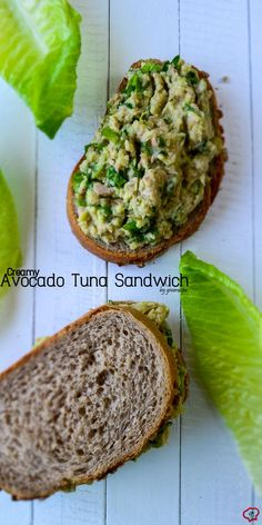 Creamy Avocado Tuna Sandwich with low calories. This is one of the healthiest, easiest and tastiest sandwiches ever! | giverecipe.com