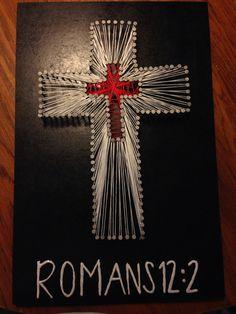 Cross string art with bible verse