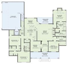 Classical Style House Plan - 4 Beds 3 Baths 2556 Sq/Ft Plan #17-1153 Floor Plan - Main Floor Plan - Houseplans.com