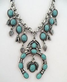 Cowgirl Bling INDIAN style Squash blossom Native necklace SET TURQUOISE Gypsy our prices are WAY BELOW RETAIL! all JEWELRY SHIPS FREE! www.baharanchwesternwear.com baha ranch western wear ebay seller id soloedition