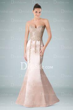 Classy Mermaid Evening Dress Holding Beaded Bodice in Pink Satin