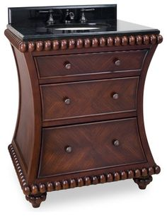 """Rosewood Beaded Vanity with Preassembeld Top and Bowl from Lyn Design features: 30"""" wide solid wood vanity. Rich rosewood finish with hand-carved beaded details. Curved design and exotic rosewood veneers give this vanity a unique furniture feel,  *Three fully functional drawers. Plenty of storage in this smaller vanity. 2.5 cm black granite top preassembled with a 15 x 12 and cut for an 8 faucet spread (faucet not included), pre-assembled with an H8809 (15"""" x 12"""") bowl.  Price: $895.50 x4."""