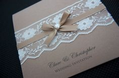 lace wedding stationery with pearl detail
