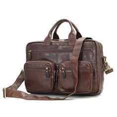 D Real Cow Leather Fashion Men s Brown Top Handle Laptop Bag Office  Briefcase Shoulder Messenger Bag Handbags 7231 ac820e56faf1e