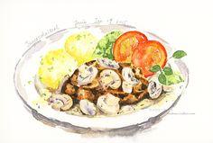 German schnitzel with mushrooms