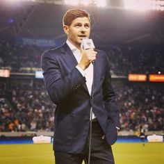 "Steven Gerrard was formally introduced to the LA Galaxy supporters as a player on Sunday during half time of their game against Toronto FC. . Steven Gerrard speaks to fans, ""I've been in Liverpool all my life, but this is a good place for me to come and enjoy my football, and hopefully add a trophy to my collection."" #Liverpool #Gerrard"
