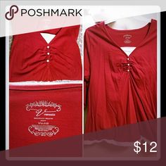 Long sleeve red tee Perfect red long sleeved tee with button down detail.  Also has peekaboo white trim on bottom hem and at the v-neck to keep it modest. Venezia Tops Tees - Long Sleeve