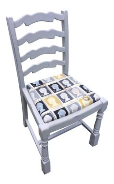 Shabby Chic Upcycled Vintage Regency Style Chair in Annie Sloan Paris Grey with Mulberry or Charcoal First Class Stamp Seat FREE POSTAGE!