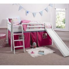 Noa and Nani Cabin Bed in Pine Mid Sleeper Bunk Slide Pink Tent Mid Sleeper With Slide, Kids Mid Sleeper, White Mid Sleeper, Mid Sleeper Bed, Girls Cabin Bed, Childrens Cabin Beds, Cabin Beds For Kids, Childrens Bedroom, Cabin Bed With Slide