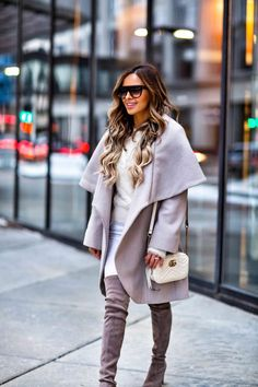 1cdf071971fa Fave  Classic Winter Coat - T Tahari Wrap Coat    Banana Republic Eyelash  Sweater    Rag   Bone White Jeans    Stuart Weitzman  Highland   Over-The-Knee ...